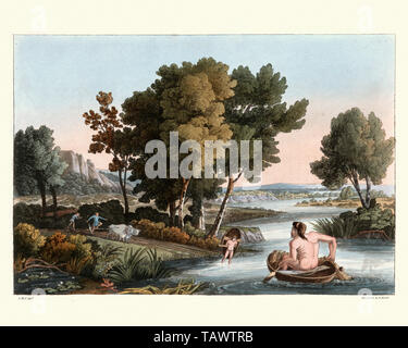 Ancient British fishing and Husbandry, farmers ploughing a field and man fishing using a coracle boat. 1815, The Costume of the Original Inhabitants o - Stock Photo