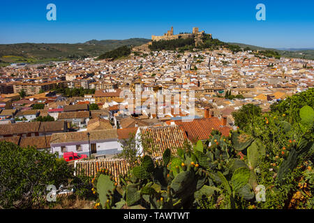 Panoramic view typical Andalusian village of Alcala la Real. Jaen province, southern Andalusia. Spain Europe - Stock Photo