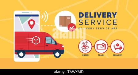 Fast delivery service app on smartphone with delivery van, logistics and technology concept - Stock Photo