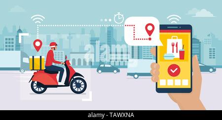 Food delivery app on a smartphone tracking a delivery man on a moped with a ready meal, technology and logistics concept, city skyline in the backgrou - Stock Photo