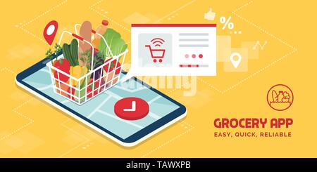 Grocery delivery at home and smartphone app: full shopping basket with fresh vegetables, food and beverage on a mobile phone display - Stock Photo