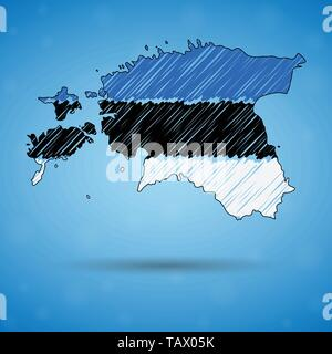 Scribble map of Estonia. Sketch Country map for infographic, brochures and presentations, Stylized sketch map of Estonia. Vector illustration - Stock Photo