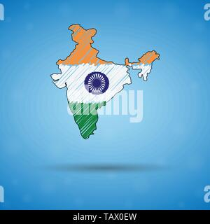 Scribble map of India. Sketch Country map for infographic, brochures and presentations, Stylized sketch map of India. Vector illustration - Stock Photo