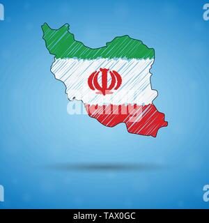 Scribble map of Iran. Sketch Country map for infographic, brochures and presentations, Stylized sketch map of Iran. Vector illustration - Stock Photo