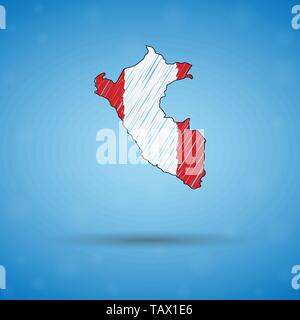 Scribble map of Peru. Sketch Country map for infographic, brochures and presentations, Stylized sketch map of Peru. Vector illustration - Stock Photo