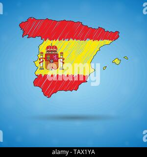 Scribble map of Spain. Sketch Country map for infographic, brochures and presentations, Stylized sketch map of Spain. Vector illustration - Stock Photo
