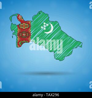 Scribble map of Turkmenistan. Sketch Country map for infographic, brochures and presentations, Stylized sketch map of Turkmenistan. Vector - Stock Photo