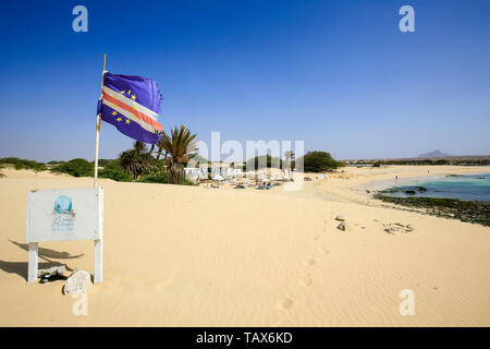 20.02.2019, Sal Rei, Boa Vista, Cape Verde Islands - Praia de Chaves, sandy beach at the beach bar, restaurant Bar Perola de Chaves. 00X190220D029CARO - Stock Photo