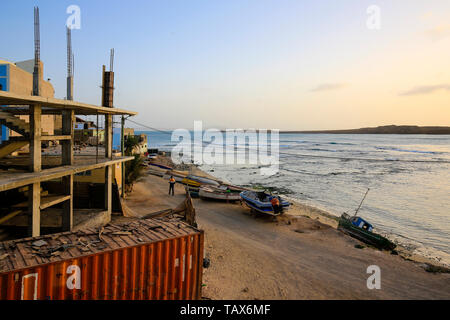 20.02.2019, Sal Rei, Boa Vista, Cape Verde Islands - City view at the old fishing harbour. 00X190220D035CAROEX.JPG [MODEL RELEASE: NOT APPLICABLE, PRO - Stock Photo
