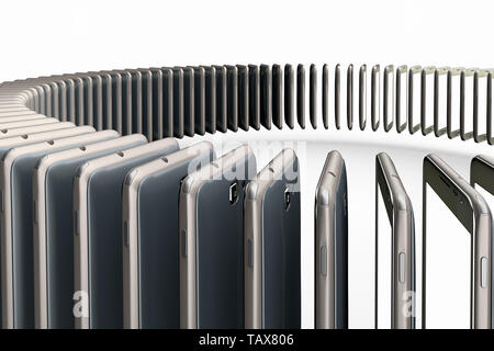 3D rendering of a conceptual image of mass production of cell phones - Stock Photo