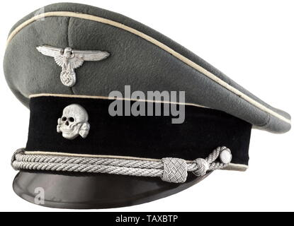 A visor cap for infantry leaders, Field-grey base cloth with white piping, black trim band. Aluminium national eagle and death's head. Leather sweatband with size stamping '56' on the inside, with added initials 'HJW'. Silk inner liner with cap trapezoid 'Stirndruckfrei - Deutsches Reichspatent'. Minimally used. 20th century, 1930s, 1940s, Waffen-SS, armed division of the SS, armed service, armed services, NS, National Socialism, Nazism, Third Reich, German Reich, Germany, military, militaria, utensil, piece of equipment, utensils, object, objects, stills, clipping, clippin, Editorial-Use-Only - Stock Photo