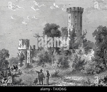 Warwick Castle, England, Europe, historic engraving from the 19th century, Schloss Warwick, England, Europa, historischer Stich aus dem 19. Jahrhundert - Stock Photo