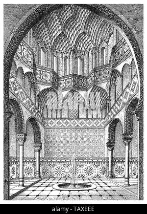 the Alhambra on the hill of the Assabica of Granada in Spain, Moorish style, Islamic art, Sala de los Abencerrajes, Hall of the Abencerrages, 14th Century - Stock Photo
