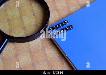 Search Engine on wooden blocks. motivation and inspiration concept - Stock Photo