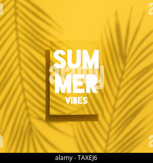 Summer Vibes tropical palm leaf shadow label. Exotic summer background. - Stock Photo