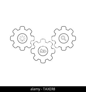 Vector icon concept of gears with light bulb, puzzle pieces and magnifying glass. Black outlines. - Stock Photo