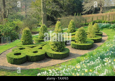 Belvoir Castle, Leicestershire. Box parterres featuring the initials of the Duke and Duchess of Rutland in Belvoir Castle gardens - Stock Photo