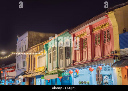 Street in the Portugese style Romani in Phuket Town. Also called Chinatown or the old town - Stock Photo