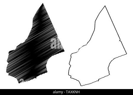 Al Mahrah Governorate (Governorates of Yemen, Republic of Yemen) map vector illustration, scribble sketch Mahra map - Stock Photo