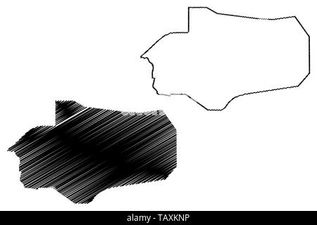 Al Jawf Governorate (Governorates of Yemen, Republic of Yemen) map vector illustration, scribble sketch Al Jawf map - Stock Photo