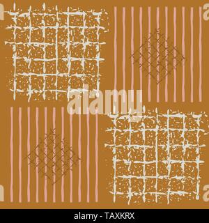 Hand painted grids, striped squares and diamonds in geometric design. Seamless vector pattern on caramel background. Great for wellbeing, beauty - Stock Photo