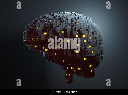 Brain consisting of blocks. Artificial intelligence concept. 3D illustration - Stock Photo