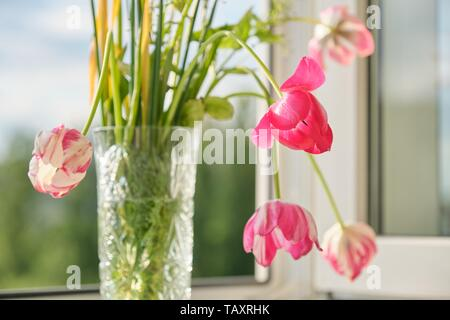 Bouquet of spring flowers tulips and white daffodils in vase on the window, background evening sunset sky with clouds - Stock Photo