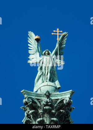 Archangel Gabriel statue at the heroes square in Budapest - Stock Photo