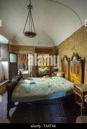 bedroom in abandoned house. Abruzzo - Stock Photo