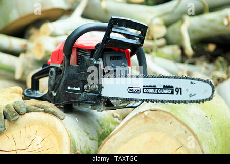 Chain saw and wood - Stock Photo
