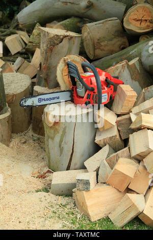 Chain saw and wood - Stock Photo