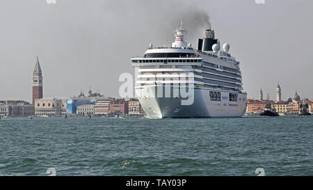 Big Cruiser Ship at Waterway Canal in Venice Italy - Stock Photo