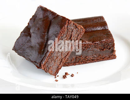Extremely rich fudgy chocolate brownies made without any grains, totally gluten free - Stock Photo