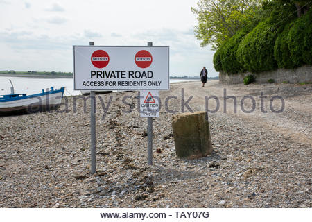 No Entry sign, Private Road on the stone track at the remote village of Sunderland Point, Lancashire, England, UK - Stock Photo