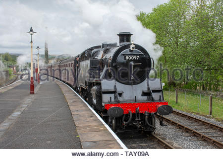 A steam train pulls into Rawtenstall station on the East Lancs Railway, a heritage line in Bury, Lancashire, UK - Stock Photo