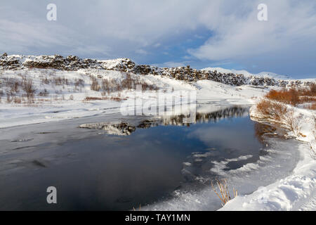 General view across the stunning landscape in the Thingvellir National Park, Iceland. - Stock Photo