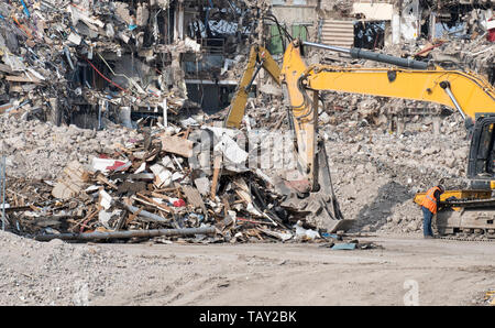 Pile of debris on a demolition site - Stock Photo