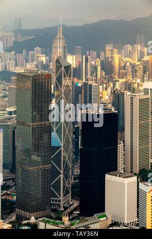 A View Of The Hong Kong Skyline From Victoria Peak, Hong Kong, China - Stock Photo