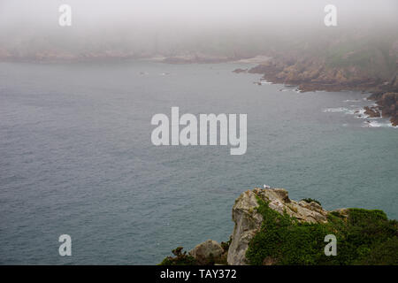 Sea fret rolling in over Icart Bay - Guernsey, Channel Islands (UK) - Stock Photo