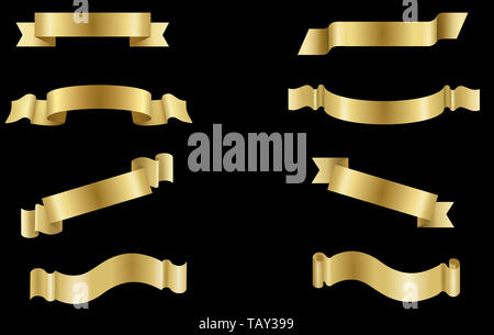 set golden banners labels ribbons - Stock Photo