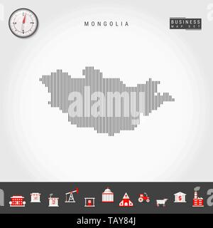 Vector Vertical Lines Pattern Map of Mongolia. Striped Simple Silhouette of Mongolia. Realistic Vector Compass. Business Infographic Icons. - Stock Photo