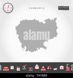 Vector Vertical Lines Pattern Map of Cambodia. Striped Simple Silhouette of Cambodia. Realistic Vector Compass. Business Infographic Icons. - Stock Photo