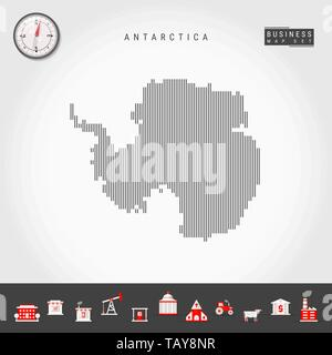 Vector Vertical Lines Pattern Map of Antarctica. Striped Simple Silhouette of Antarctica. Realistic Vector Compass. Business Infographic Icons. - Stock Photo