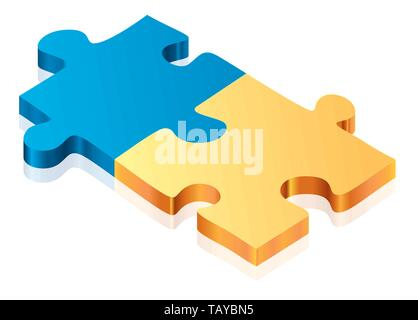 Vector illustration. Two pieces puzzle. Metallic and 3D style. - Stock Photo