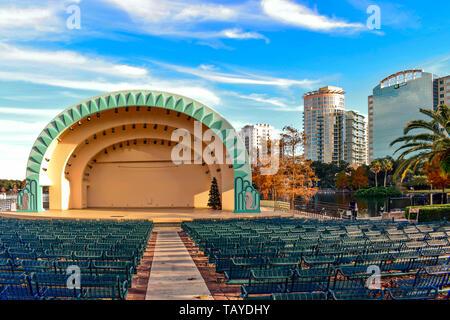 Orlando, Florida . December 24, 2018. Amphitheater at Lake Eola Park in Orlando Downtown area. - Stock Photo