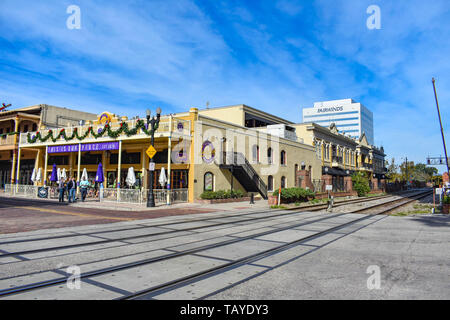 Orlando, Florida . December 24, 2018. Colorful vintage soccer pub at Church Street Station in Orlando Downtown area . - Stock Photo