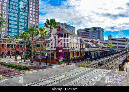 Orlando, Florida . December 24, 2018. Panoramic view of Old Church Street Station in Orlando Downtown area. - Stock Photo