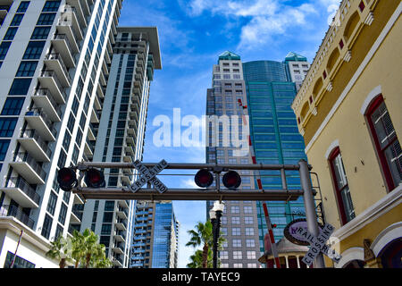 Orlando, Florida . December 24, 2018. Top view of Church Street Station buildings in Orlando Downtown area. - Stock Photo
