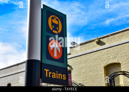 Orlando, Florida . December 24, 2018. Top view of Trains sign at Church Street Station in Orlando Downtown area . - Stock Photo