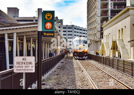 Orlando, Florida . December 24, 2018. Train on Church Street Station in Orlando Downtown area . - Stock Photo
